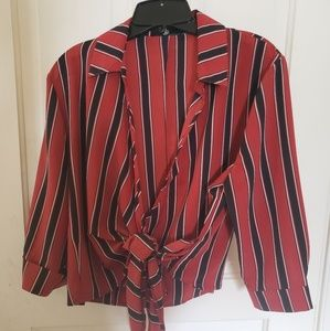 red & black striped wrap front blouse